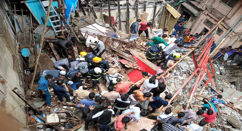Trapping a total of 40 residents, a sudden building fall in Mumbai's Dongri critically forces 2 to breath last
