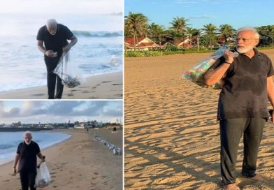 PM Modi removes garbage 'collection' from Mamallapuram beach