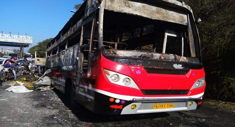 Thane: Luxury bus catches fire, no casualties